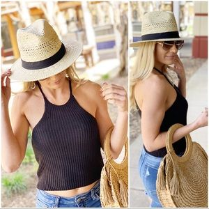 Black ribbed knit sweater top
